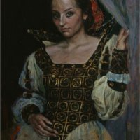 """Portrait of Anna in a theater costume"", oils / canvas"